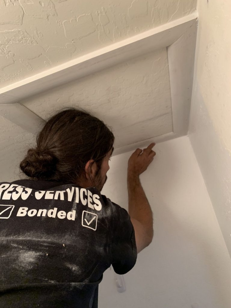 Attic access with trim by Handyman Service Chandler from Az Express Services